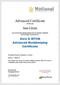 National Bookkeeping Advanced Bookkeeping Training Course Certificate - Find clients, get accounts jobs, run a better business - 123 Group